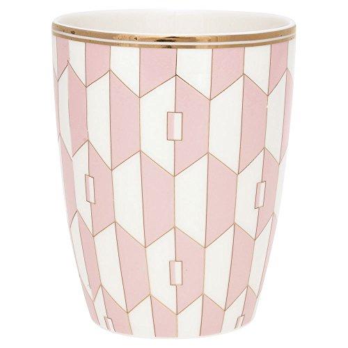 GreenGate Gate Noir - Latte Cup Latte Macchiato Becher, Kaffeebecher - Aurelie Pale Pink - Porzellan - Wild Roses Bone China