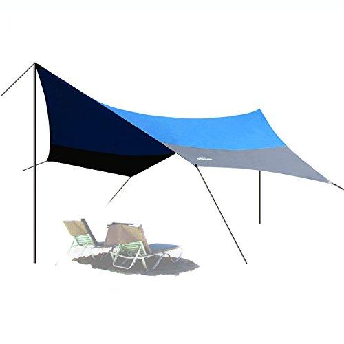 Overmont 5m x 5m Sonnensegel Wasserdichte Zeltplane Sonnenschutz Außenzelt mit Zeltheringen Seile...