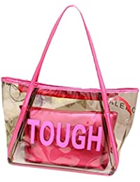 Zicac Candy Color Clear Large Tote Bag Letter Pattern Pvc Beach Shoulder Bag With Interior Zipper Pouch (Rose...