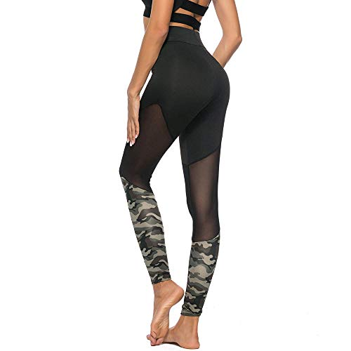 EUZeo Damen Camo Stitching Leggings Casual Sport Yogahosen Zeichnen Hosen Tech Mesh Yoga Fitness Hose Streetwear Sporthose Elastischen Jogginghose Fitnesshose Laufhose
