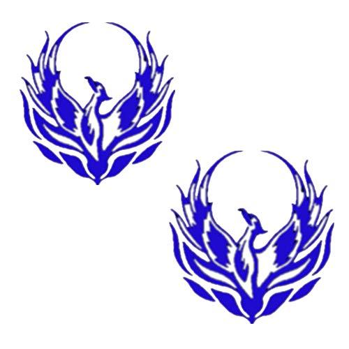 Fully 2er/Set Phönix Vogel Heckscheibe Auto Aufkleber Sticker Folien Tattoo Zimmer Deko (Blau, S: 12X12CM/4.72X4.72)