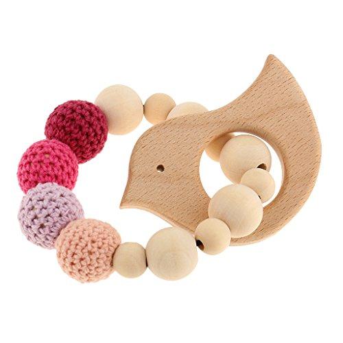 Preisvergleich Produktbild MagiDeal Holz Häkeln Perlen Armband Beißring Baby Kid greifen Pflege Spielzeug Zahnring - Vogel 1