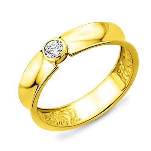 Miore 14ct/585 Gelbgold Solitaire Damenring Größe 54 mit Brillant ca.0,13ct MA74RYO