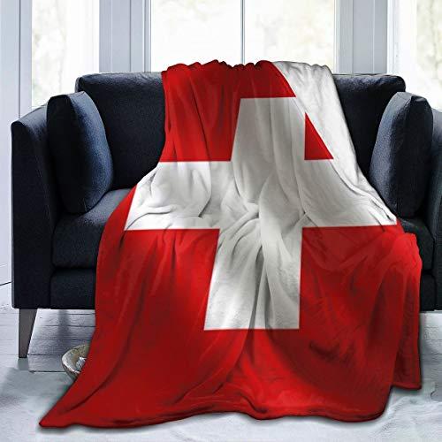 New*design Schweiz-Flaggen-Reihen-Flaggen-Weltlandschweizer Fleecedecke | Superweiche Fleecedecke aus Mikrofaser Luxuriöse TV-Decke für Couchsofa 60X50 Zoll