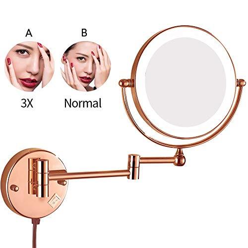 Badezimmer LED an der Wand befestigte Kosmetikspiegel, 8-Zoll-doppelseitige Messing beleuchtete Vergrößerungs-Eitelkeit, die faltbaren Schalter-elektrischen Stecker rasiert,Pink,3X - Elektrischer Wand-schalter