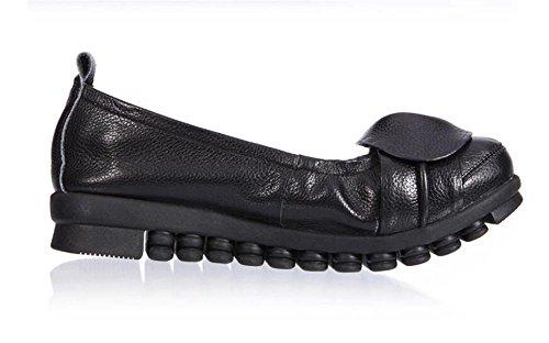 LDMB Beiläufige flache Ferselederne Schuhe der Frauen Bequeme weiche flache  MundMutterSchuhe Black