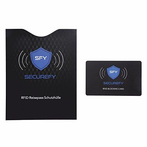SECUREFY RFID BLOCKING CARD + Gratis RFID REISEPASS SCHUTZHÜLLE – Nur eine einzige Schutzkarte schützt Ihren gesamten Geldbeutel vor RFID - NFC - 13.56Mhz Datendiebstahl