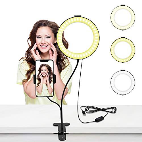 LED Selfie Ringlicht, 6 Zoll Live Licht Ringleuchte mit Handyhalter 3 Leuchtmodi & 10 Helligkeiten Stufen für Live Stream, YouTube, Selfie Portrait, Schminken, Kochvideos-Aufnahme