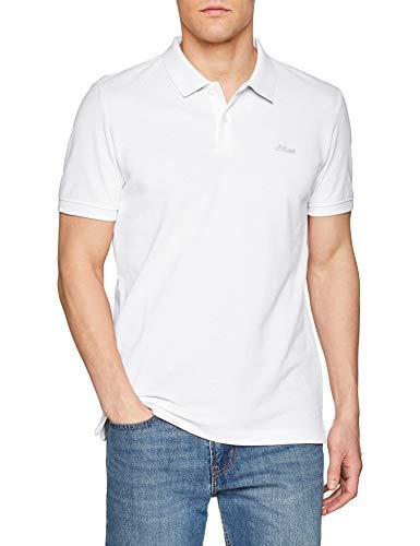 s.Oliver Herren 03.899.35.4586 Poloshirt, Weiß (White 0100), Large -