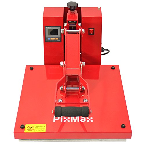 Deals For PixMax Flat Bed Sublimation Heat Press Machine & Teflon Sheet, 38cm x 38cm, Clam Style, Red Special
