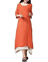 OverDose elegante vestidos mujer 3/4 manga fiesta de lino de algodón S-XXXXXL