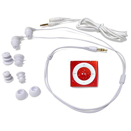 Underwater Audio Waterproof iPod Swimbuds Bundle (Red)