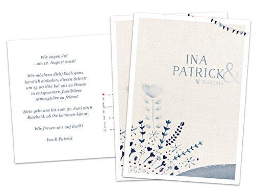 100 Elegante Hochzeitseinladungen - Set inkl. Druckservice für Namen und Einladungstext - CREME BEIGE BLAU im Aquarell Vintage Design, Hochweißes Recyclingpapier, individuelle Einladungskarten für deine Hochzeit, Geburtstag, Jubiläum etc. (100)