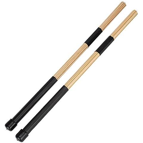 WINOMO Coppia di Canna di Bambù di 40cm Tamburo Bastoni di Spazzole Per la Musica Folk Jazz (Nero)