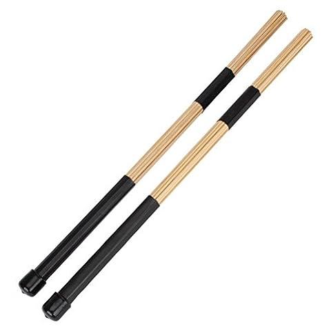 UEETEK Pair of 40CM Bamboo Rod Drum Brushes Sticks for Jazz Folk Music