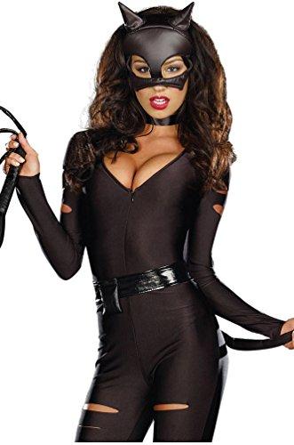 Shangrui Damen Cosplay Kostüme Schwarz Wild Catwoman Catsuit Uniform