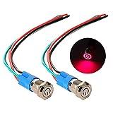 Gebildet 2 pièces 12mm Acier Inoxydable Verrouillage Bouton Poussoir Interrupteur, LED de Symbole d'alimentation 12V-24V Interrupteur à Levier Étanche avec Fiche à Douille (LED Rouge)
