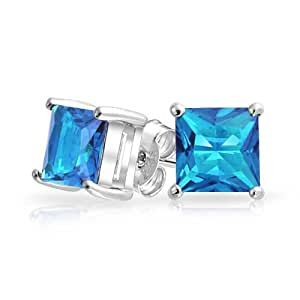 Bling Jewelry CZ Simulated Blue Topaz Princess Cut 925 Sterling Silver Stud Earrings 7mm