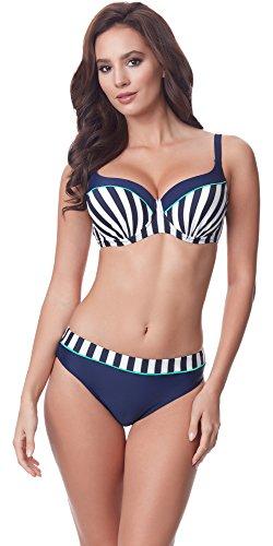 Merry Style Damen Bikini Set P19157DC (Navy/Türkis-57DS, Cup 100 B/Unterteil 48) (B-cup)