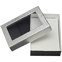 nbeads 60pcs día de San Valentín regalos paquetes Rectangular joyas cajas de cartón para collares, pendientes y anillos, plata, 90x 65x 28mm
