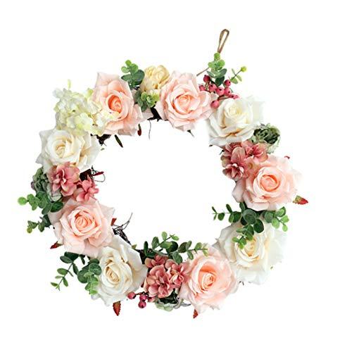 Baoblaze Rose Türkranz Wandkranz Kunstblumen Kranz Dekokranz mit Jute Schnur zum Aufhängen, aus Seiden (Frühlings-kranz Für Draußen)