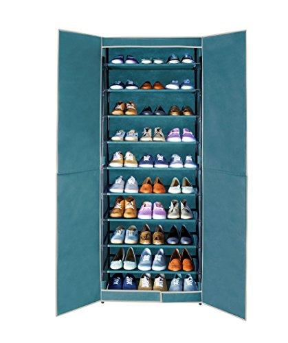 Wenko 4381635500 Schuhschrank Breeze für bis zu 30 Paar Schuhe, Polypropylen Faserstoff, 61 x 160 x 32 cm, petrol
