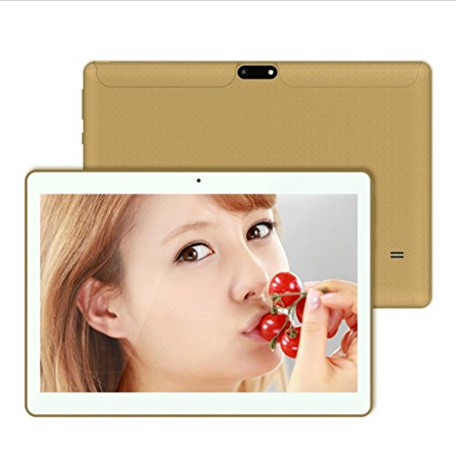 Tablet-Computer,Smart Tablet, Tablet, 10,1 Zoll MTK6592 Achtkern 800*1280 Android 4.4 4500mAh Dual-Karte Dual-Kamera Handy Tablet Wifi Phablet (Gold)