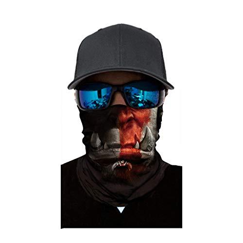 cinnamou Multiunktionstuch Maske Schal Kälteschutz Gesichtsmaske Fishing Totenkopf Schal Skull Bandana Gesichtsmaske Halstuch Ski Motorrad Paintball Halloween Maske (25CM X 50CM, F)