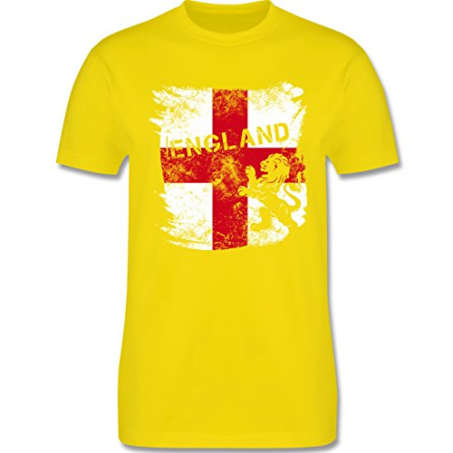 EM 2016 - Frankreich - Englandflagge & Löwe Vintage - Herren Premium T-Shirt Lemon Gelb