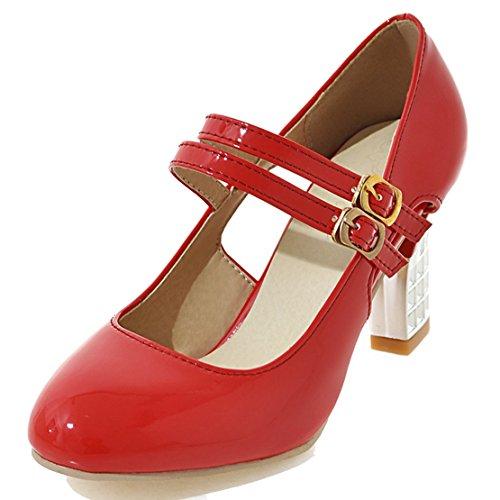 AIYOUMEI Damen Lackleder Blockabsatz Mary Jane Pumps mit 8cm Absatz Bequem Modern Schuhe Rot