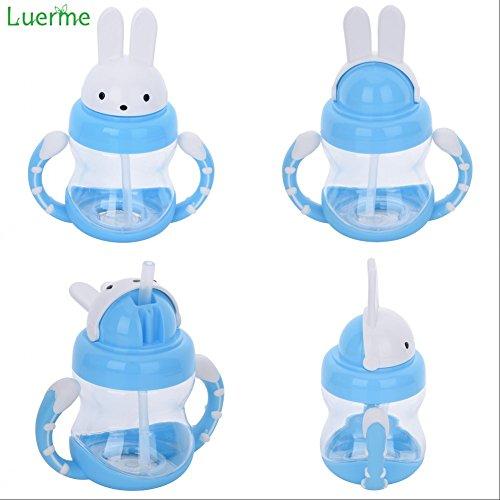240ml Baby Trinkflasche, Luerme Kinder Strohhalm Wasserflasche Flip Kaninchen Kappe Trinklernflasche Trinklernbecher mit Rutschfest Handgriff -
