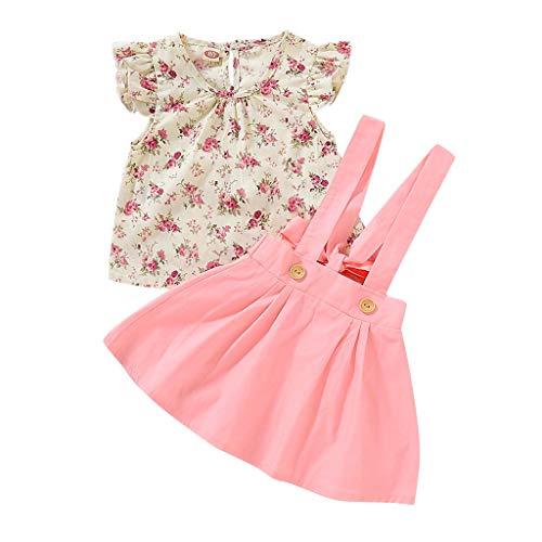Kleidung Damen Sommer Pwtchenty Kleinkind Neugeborenes Kinderkleidung Blumendruck T-Shirt Tops + Strap Rock 2 Stück Outfit Kleiderset