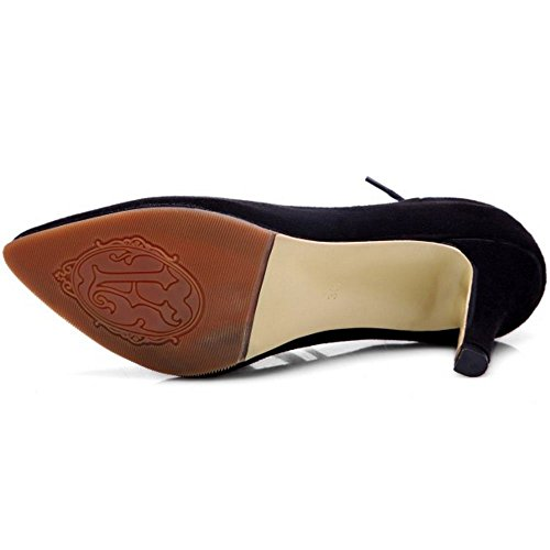 COOLCEPT Femmes Mode Talon Aiguille Escarpins Gladiateur Lacets Leopard Soiree Chaussures Noir