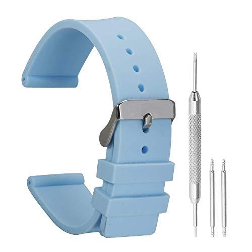 12mm frischer Blauer Silikon-Uhrenarmband Sport-Uhrenarmband Gummi für Damen mit Dornschließe aus Edelstahl - Uhrenarmband 12mm Gummi