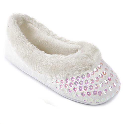 Damen Pailletten Pantoffeln Weiß