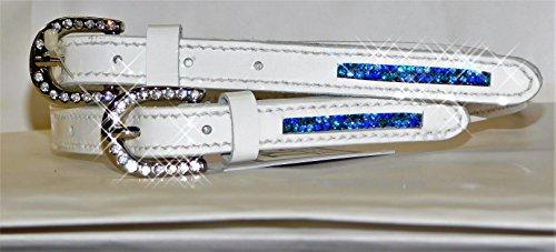 Sporenriemen Leder Sporen Riemen Glitzer Strass Weiß Rosa Blau Sporenriemchen (Lackleder Weiß)