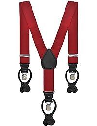 Mens Scarlet Red 3.5 cm Dual Clip Y-Shaped Adjustable Trouser Braces Suspenders