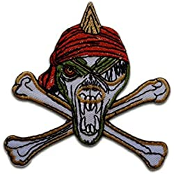 Parches - pirata calavera Biker - blanco - 8,5x8,5cm - by catch-the-patch termoadhesivos bordados aplique para ropa