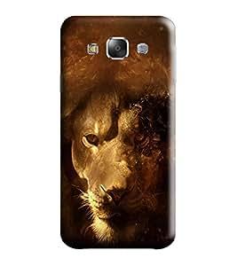 Hi-me Designer Phone Back Case Cover Samsung Galaxy E5 (2015) :: Samsung Galaxy E5 Duos :: Samsung Galaxy E5 E500F E500H E500Hq E500M E500F/Ds E500H/Ds E500M/Ds ( Fiery Golden Strong Lone Lion )