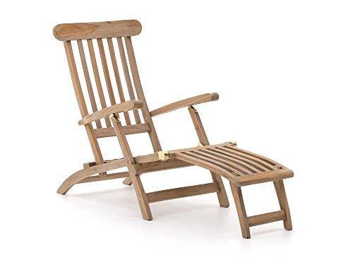 ROUGH Stabile X Deckchair klappbar | Teakholz Gartenliege mit Fußteil | Sonnenliege aus behandeltem Teakholz, für Garten oder Balkon | Wetterfest, pflegeleicht, klassisches Aussehen und ohne Auflage