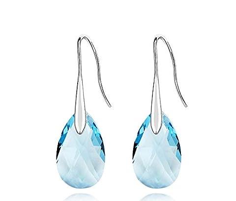 ufengke® Austrian Crystal Fashion Teardrop Crystal Drop Earrings Women Girls Gift, Ocean Blue