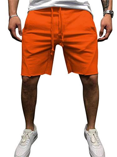 Kordelzug Laufhosen (Onsoyours Herren Sport Joggen Training Shorts Fitness Kurze Hose Casual Sweatshort Sporthose Männer Laufhose Sport Hosen Mit Kordelzug Z Orange Large)