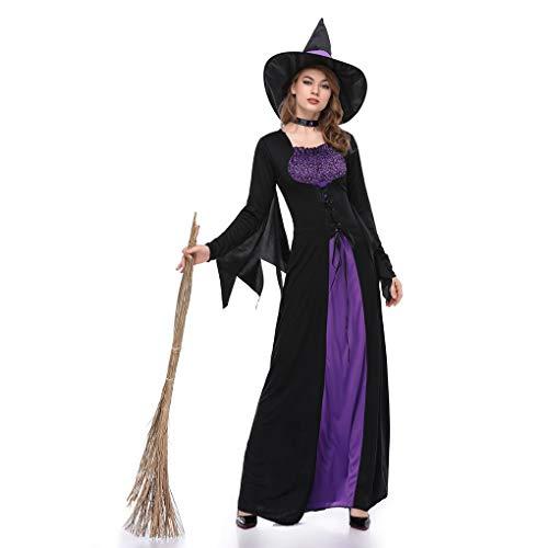 Provide The Best Frauen-Schwarz-lila Hexe Kleid Zauberin Cosplay Erwachsene Halloween-Partei-Kostüm