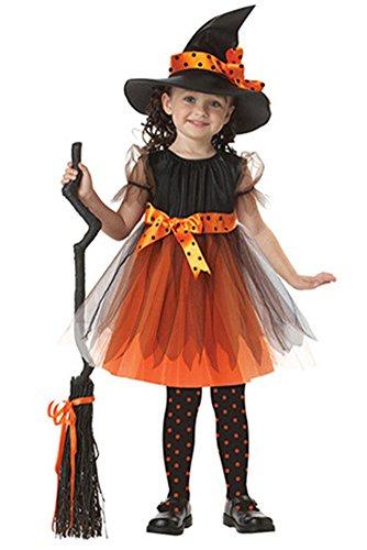 Bozevon vestiti halloween bambina costume halloween bambini vestiti carnevale costumi strega cosplay vestito e cappello, giallo/viola