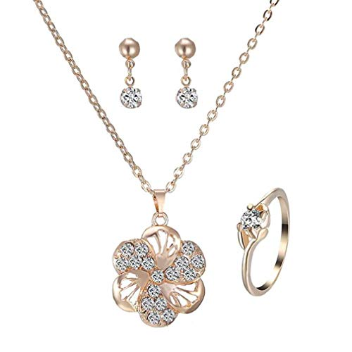 Offerte di liquidazione, fittingran orecchini collana anello tre pezzi di gioielli con diamanti set moda accessori da sposa vintage europei e americani (flower)