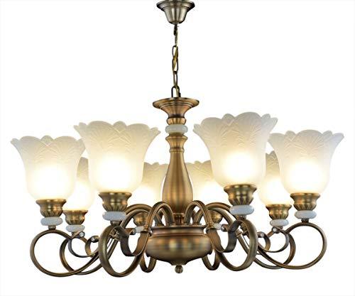 WENSENY Kronleuchter mit Glas Antiquität Messing Glas Kronleuchter fallen lassen Pendelleuchten 8 flammig Ø88cm LED E27 -