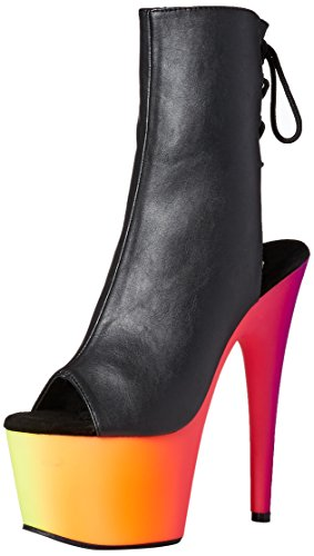 Pleaser Rainbow-1018uv7, Sandali Donna Multicolore (Blk Faux Leather/Neon Multi)
