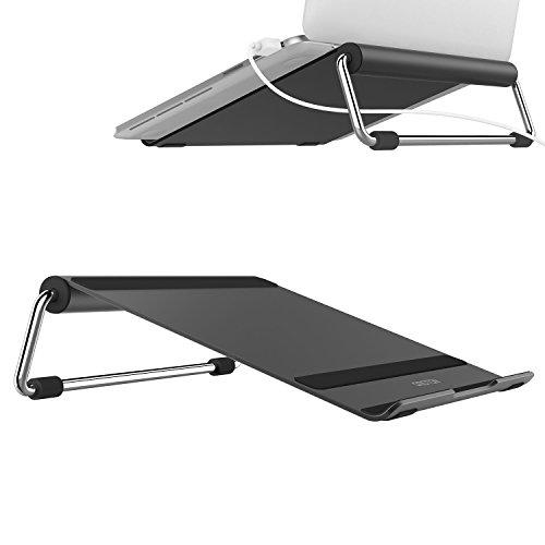 Notebookständer OMOTON Laptop Ständer für Notebooks bis zu 15 Zoll - Perfekt für Macbook, MacBook Air, MacBook Pro, Ultrabook, Lenovo usw. [Aluminium] [höhenverstellbar] [Gummiauflage] schwarz
