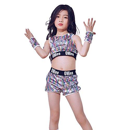 LOLANTA Mädchen Jazz Tap Dancewear Outfit Crop Tops Shorts Hip-Hop Modern Dance Kostüm - Mehrfarbig - 11-12 - Children's Tap Dance Kostüm