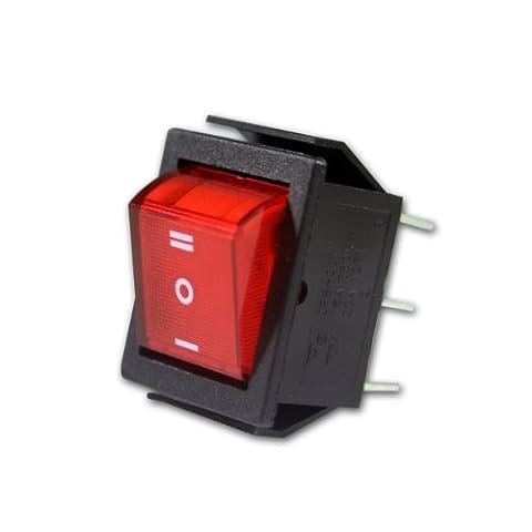 Wippenschalter rot, 2-polig, 250V/15A, Umschalter